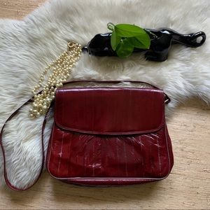 Cranberry Red Eel Leather Clutch/Crossbody